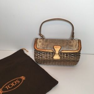 Tod's Handbag Woven Leather Bronze Beige Small EUC